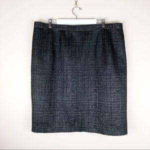 Carmen Marc Valvo Black Shimmer Pencil Skirt
